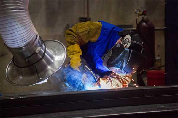 proper positioning a welding hood