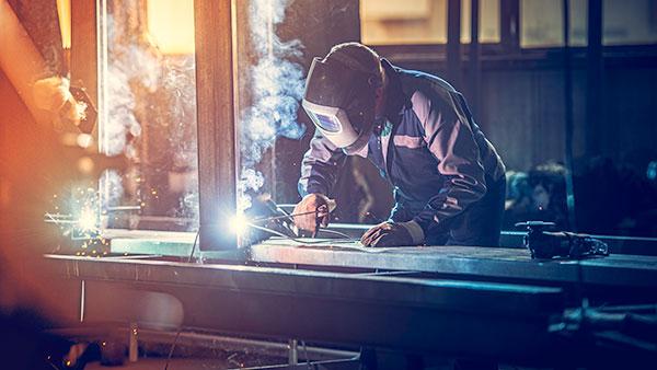 welder at workstation
